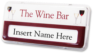 Reusable Name Badges - Clear border and white / burgundy background | www.namebadgesinternational.us